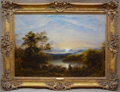 The Ford - Large 19th Century Oil Painting - John Linnell - Victorian Landscape