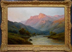 Evening on River Tay - 19th Century Highlands Scotland Oil Painting - Breanski