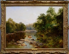 The Tees near Greta Bridge - 19th Century Oil Painting - English River Fishing