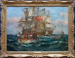 An Encounter with Pirates - Large Oil Painting - English Man O War Ships Pirates
