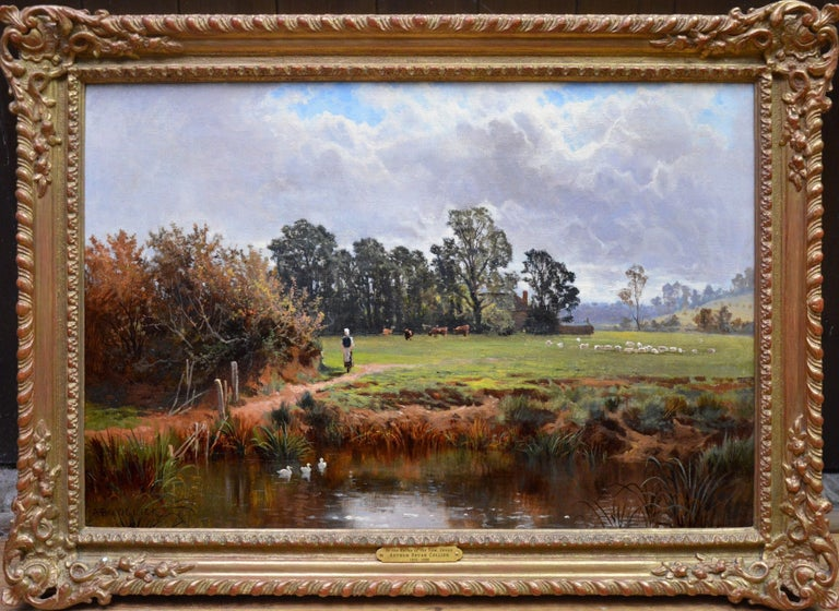 Arthur Bevan Collier Landscape Painting - In the Valley of the Taw, Devon - 19th Century English Landscape Oil Painting