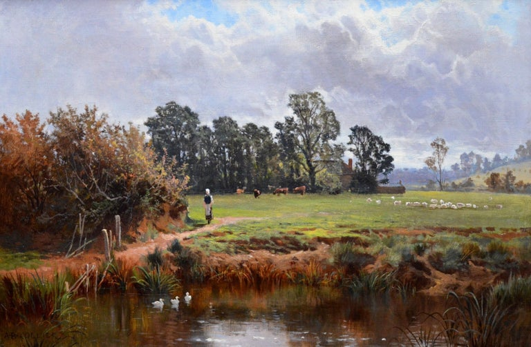 This is a fine 19th century oil on canvas depicting a single figure, cows and sheep in a late summer river landscape 'In the Valley of the Taw, Devon' by the listed Victorian painter Arthur Bevan Collier 1832-1909. The painting is signed by the