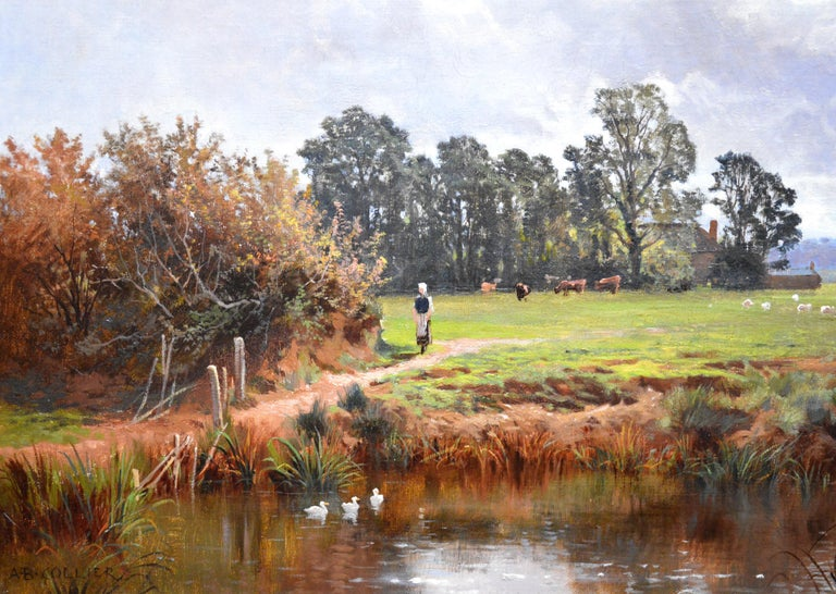 In the Valley of the Taw, Devon - 19th Century English Landscape Oil Painting For Sale 1