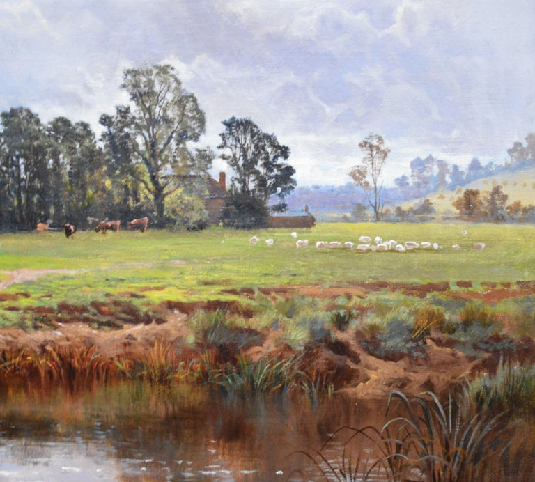 In the Valley of the Taw, Devon - 19th Century English Landscape Oil Painting For Sale 3