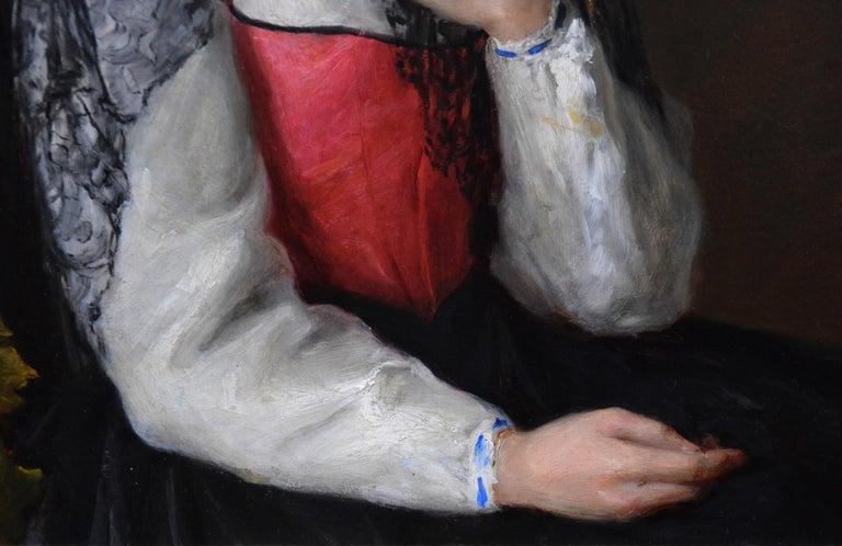 The Black Mantilla - 19th Century Victorian Oil Painting Portrait Spanish Beauty For Sale 3