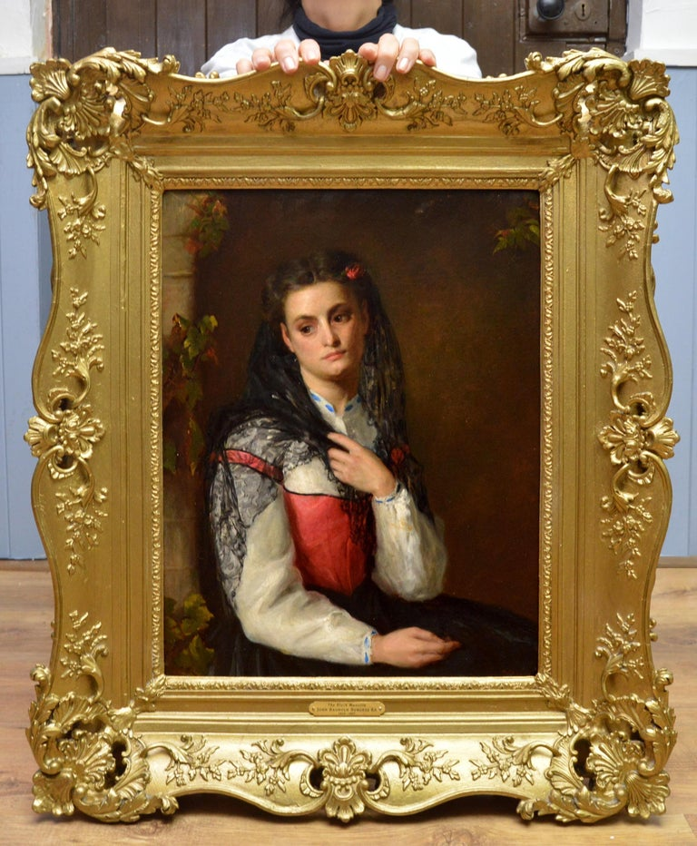 The Black Mantilla - 19th Century Victorian Oil Painting Portrait Spanish Beauty - Brown Figurative Painting by John Bagnold Burgess