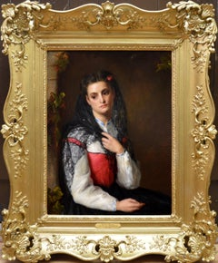 The Black Mantilla - 19th Century Victorian Oil Painting Portrait Spanish Beauty