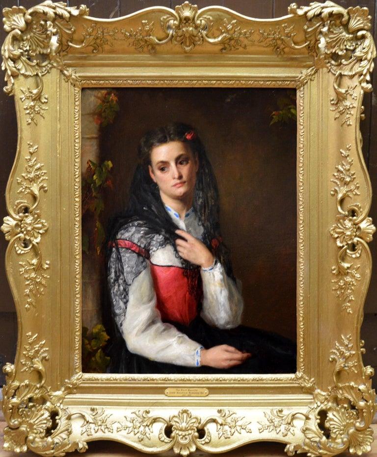 John Bagnold Burgess Figurative Painting - The Black Mantilla - 19th Century Victorian Oil Painting Portrait Spanish Beauty