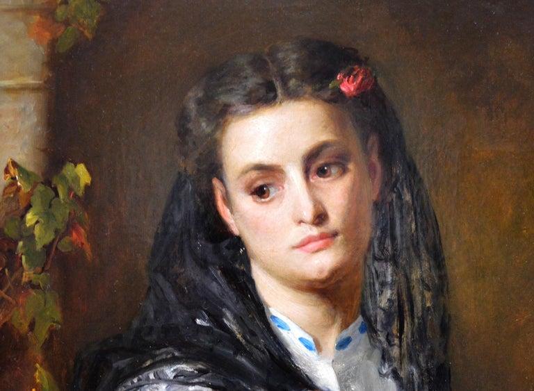 The Black Mantilla - 19th Century Victorian Oil Painting Portrait Spanish Beauty For Sale 2