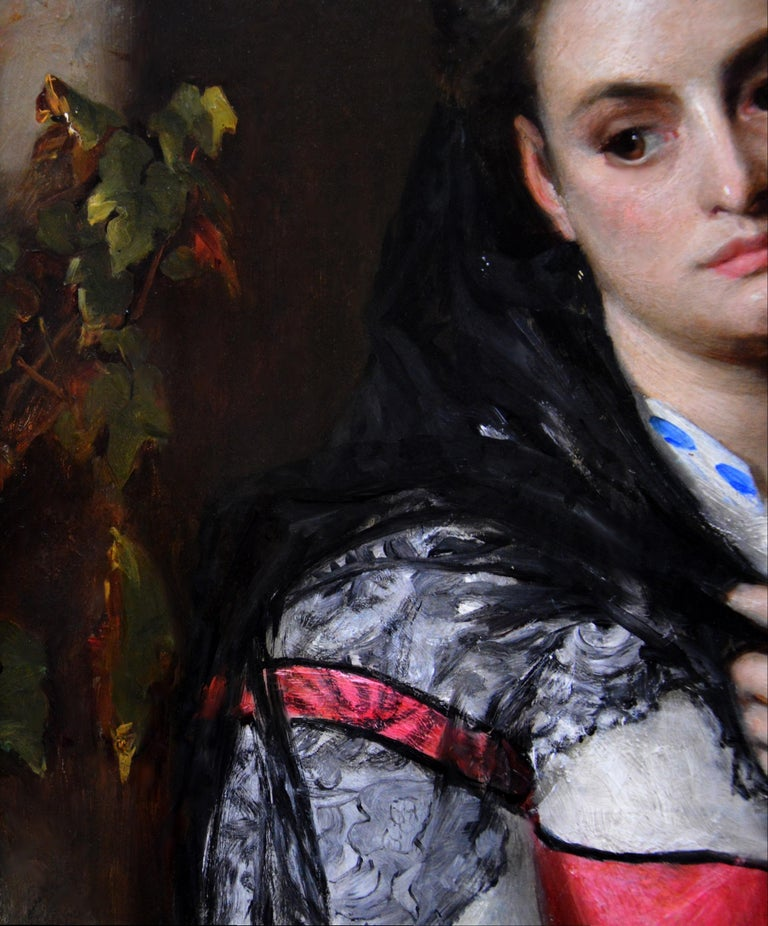 The Black Mantilla - 19th Century Victorian Oil Painting Portrait Spanish Beauty For Sale 4