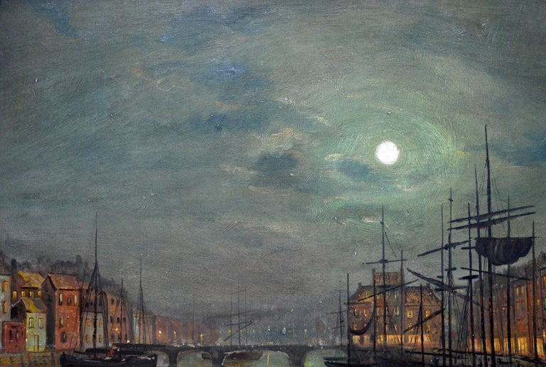 Whitby Harbour by Moonlight - 19th Century Oil Painting pupil Atkinson Grimshaw For Sale 3
