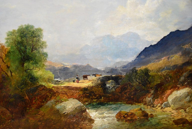 Snowdon, North Wales - Very Large 19th Century Oil Painting - Mount Snowdon For Sale 1