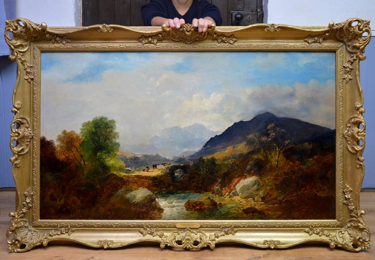 Snowdon, North Wales - Very Large 19th Century Oil Painting - Mount Snowdon - Brown Landscape Painting by Joseph Horlor