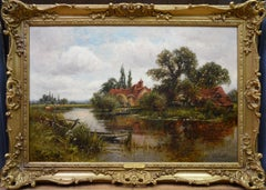 On the Thames at Goring - 19th Century Victorian Landscape Oil Painting