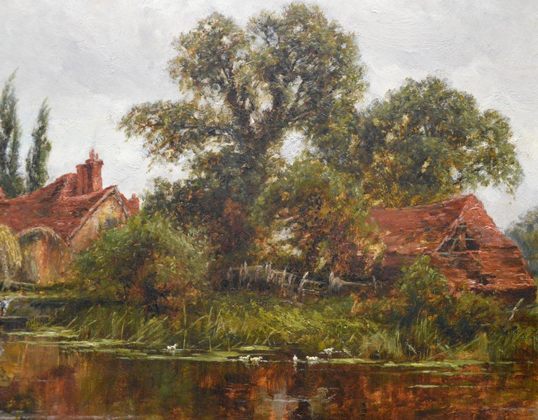 On the Thames at Goring - 19th Century Victorian Landscape Oil Painting For Sale 6