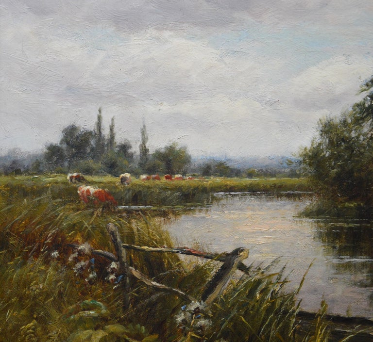 On the Thames at Goring - 19th Century Victorian Landscape Oil Painting For Sale 4