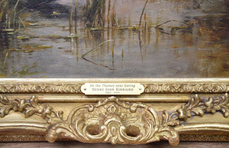 On the Thames at Goring - 19th Century Victorian Landscape Oil Painting For Sale 8