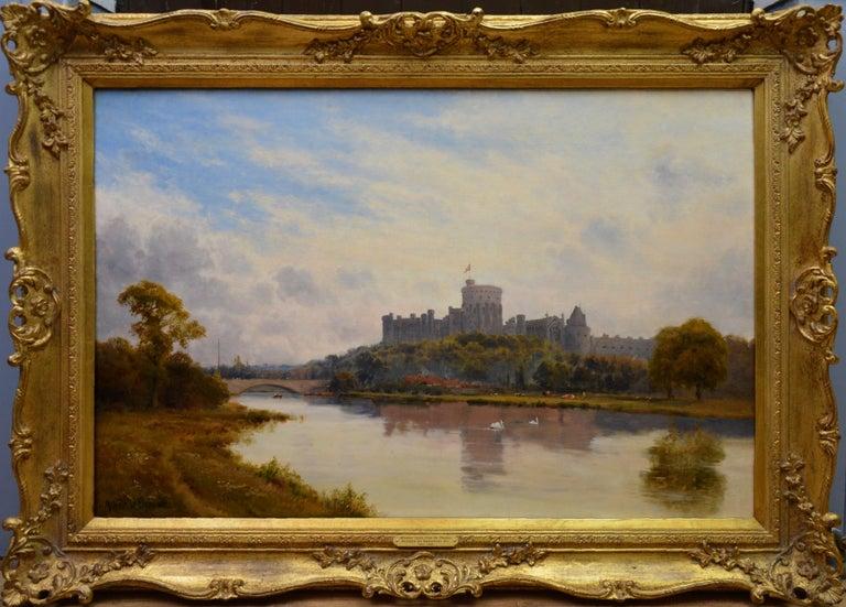 Alfred de Breanski Sr. Landscape Painting - Windsor Castle from the Thames - 19th Century Victorian River Landscape Breanski