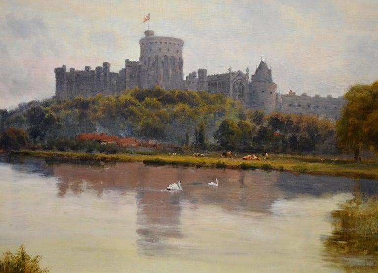 Windsor Castle from the Thames - 19th Century Victorian River Landscape Breanski For Sale 3