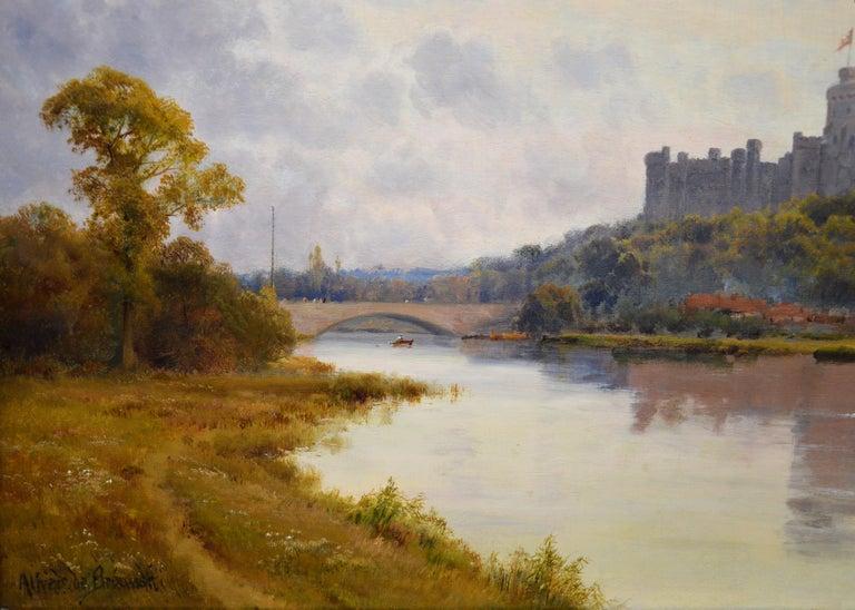 Windsor Castle from the Thames - 19th Century Victorian River Landscape Breanski For Sale 1
