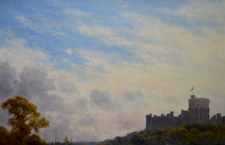 Windsor Castle from the Thames - 19th Century Victorian River Landscape Breanski For Sale 2