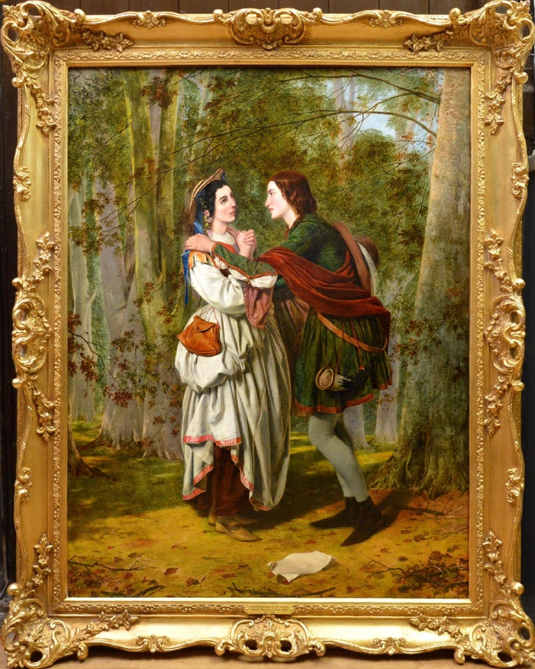 Henry Nelson O'Neil Figurative Painting - Rosalind & Celia, As You Like It - 19thC Oil Painting Shakespeare Royal Academy
