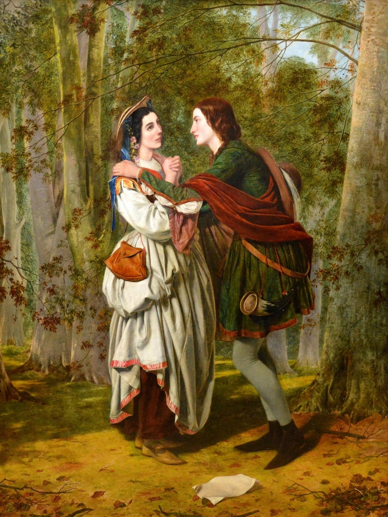 This is a very fine large mid-19th century oil on canvas depicting 'Rosalind and Celia' in the Forest of Arden from Act 3, Scene 2 of William Shakespeare's 'As You Like It' by the famous English Victorian artist Henry Nelson O'Neil ARA (1817-1880).