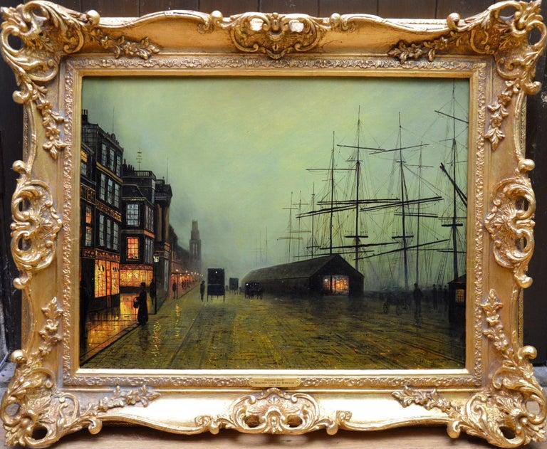 Walter Linsley Meegan Landscape Painting - Glasgow Docks - Moonlight Nocturne Landscape - Pupil of Atkinson Grimshaw