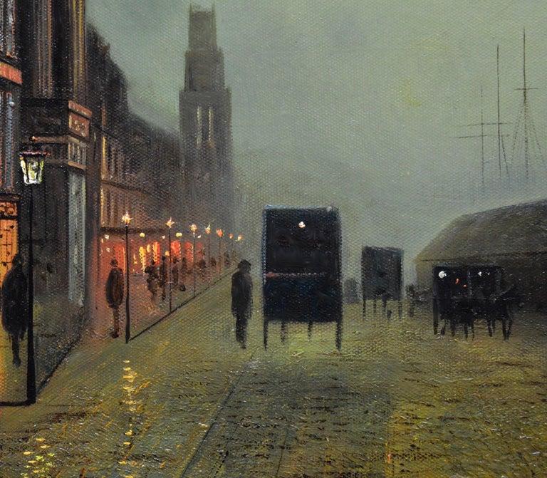 Glasgow Docks - Moonlight Nocturne Landscape - Pupil of Atkinson Grimshaw For Sale 1