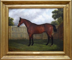 Cardinal - Mid 19th Century Equine Oil Painting Portrait of English Thoroughbred