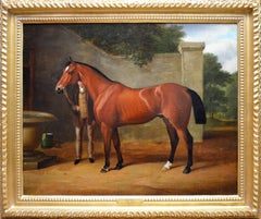 The Collier - Mid 19th Century Equine Oil Painting Portrait English Thoroughbred