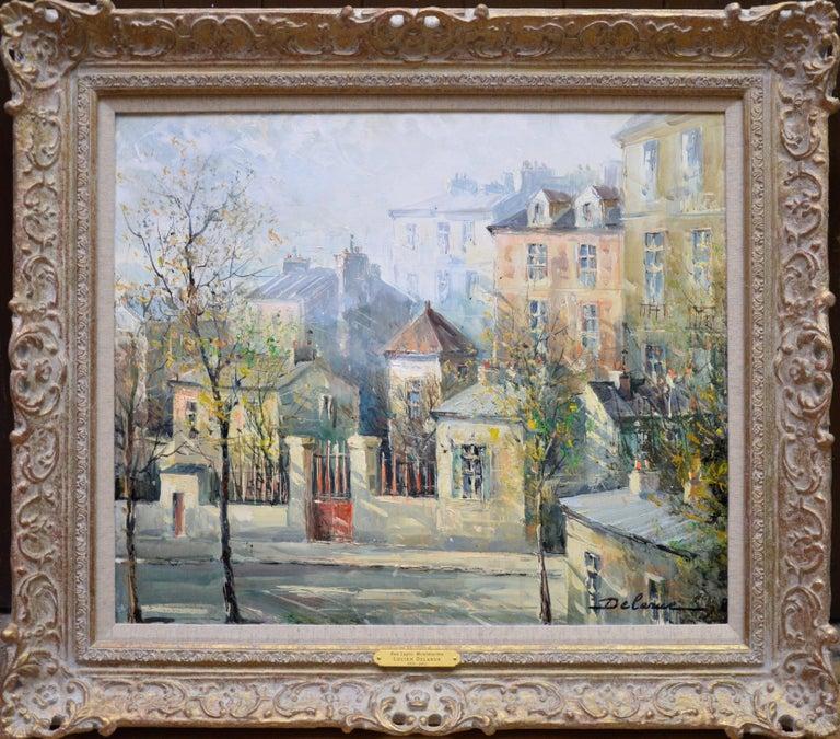 Lucien Delarue Landscape Painting - Rue Lepic, Montmartre - French Post Impressionist Oil Painting Paris Landscape