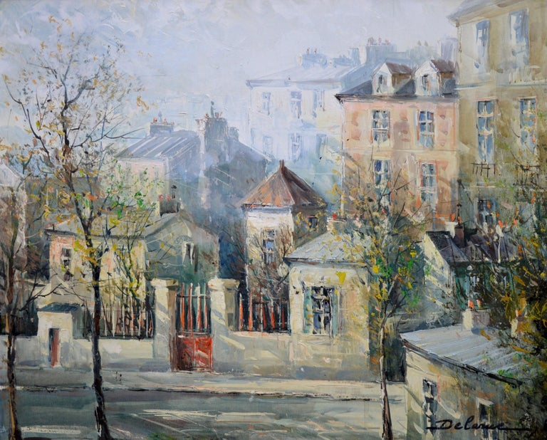 This is a large fine French Post-Impressionist landscape oil on canvas depicting 'Rue Lepic', one of the most iconic streets of old Montmartre in Paris, by the eminent French artist Lucien Delarue (1925-2011). The painting is signed by the artist
