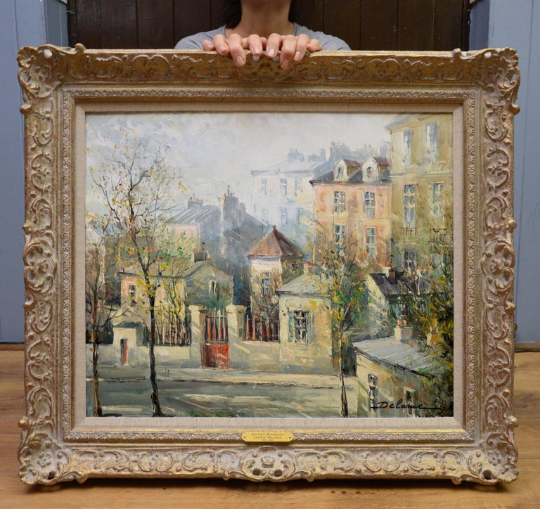 Rue Lepic, Montmartre - French Post Impressionist Oil Painting Paris Landscape - Gray Landscape Painting by Lucien Delarue