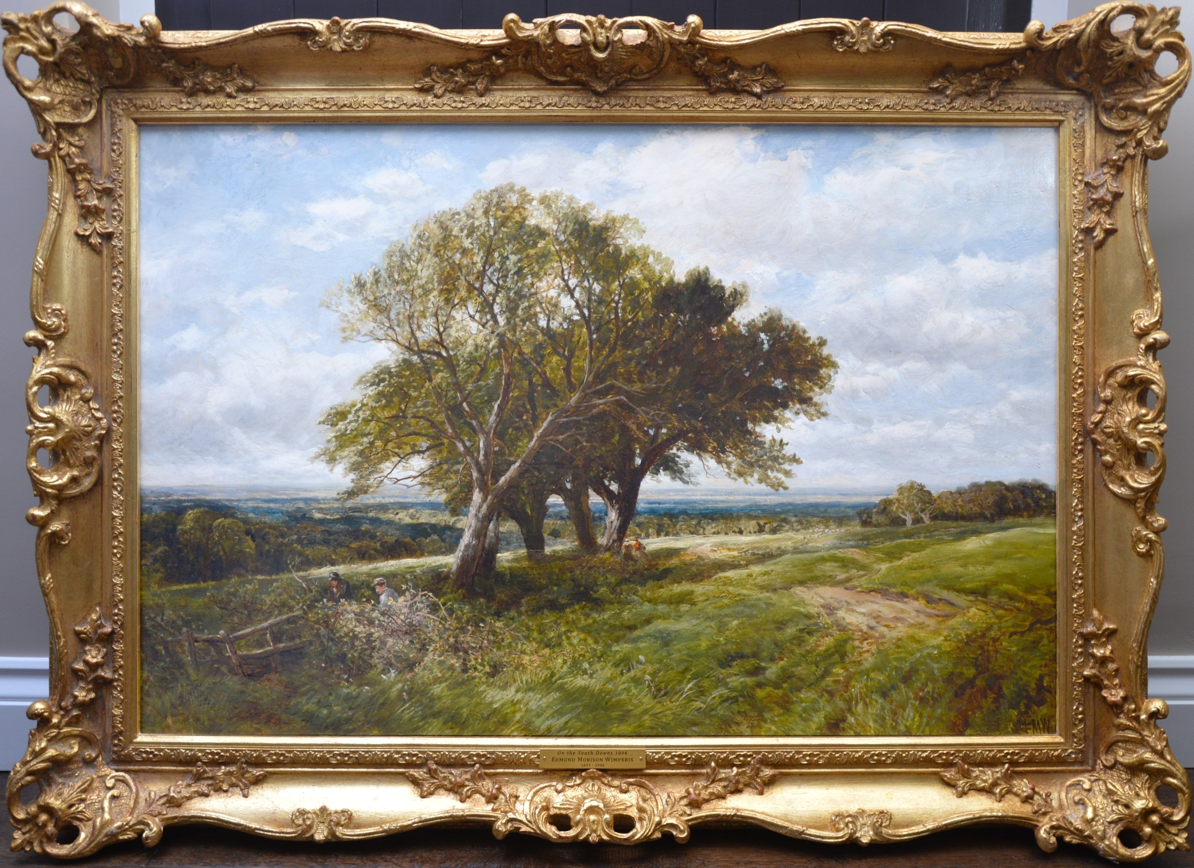 On the South Downs - Large 19th Century English Landscape Oil Painting