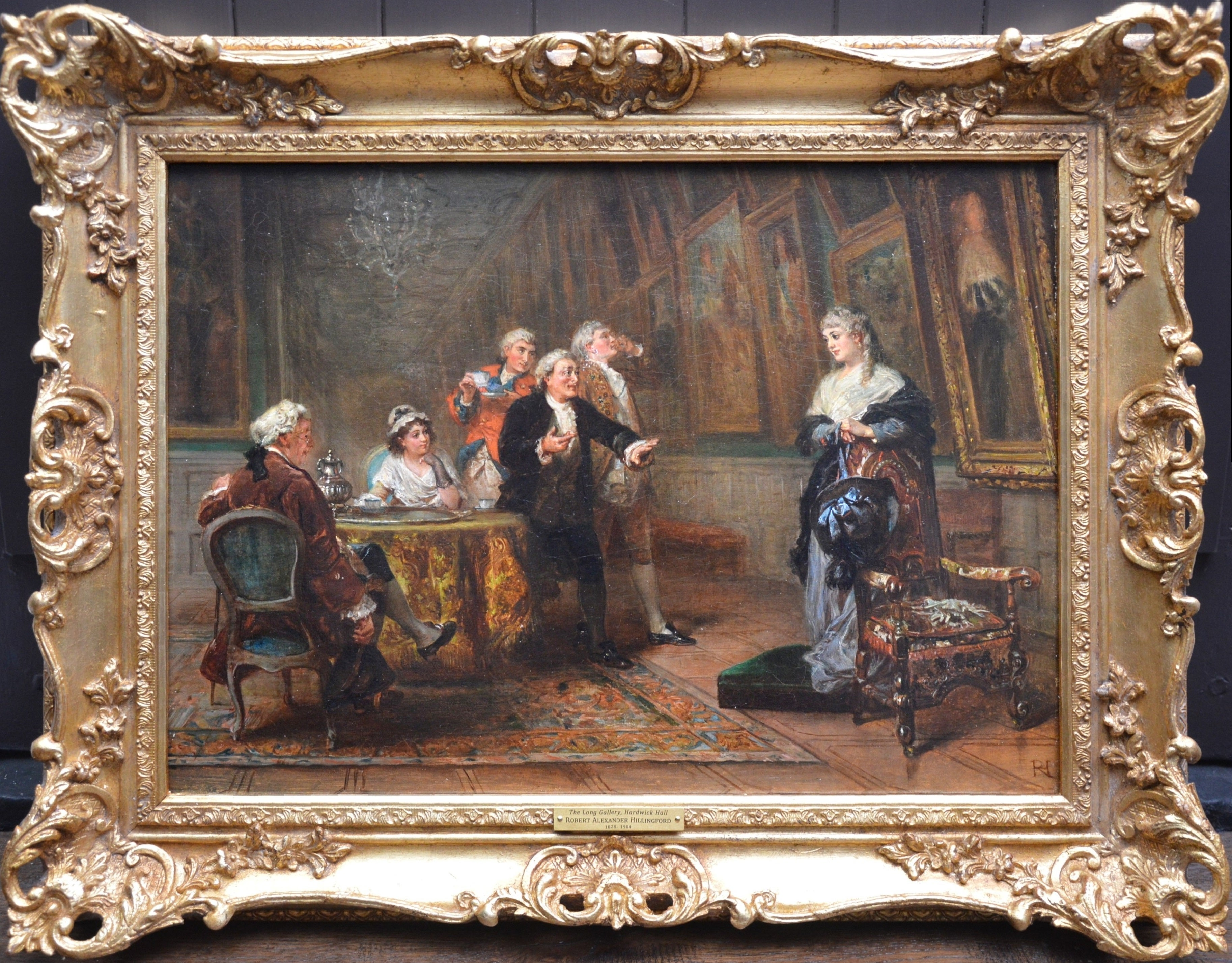 The Long Gallery, Hardwick Hall - 19th Century English Stately Home Oil Painting
