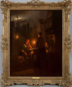 The Night Market - Mid 19th Century Nocturne Oil Painting - style Van Schendel