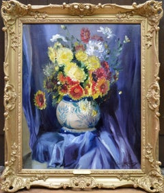 Chrysanthemums - English Post Impressionist Floral Still Life Oil Painting 1929