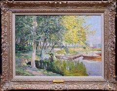 Au Bord du Lac - Post Impressionist Oil Painting 1943 - Lake Le Mans Geneve