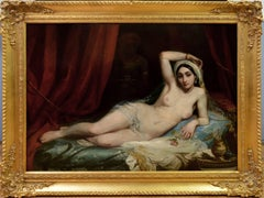 Une Odalisque - 19th Century French Orientalist Nude Oil Painting - Harem Girl