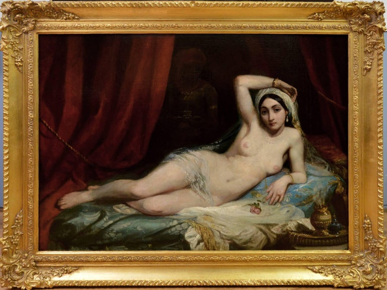 Adrien-Henri Tanoux Figurative Painting - Une Odalisque - 19th Century French Orientalist Nude Oil Painting - Harem Girl