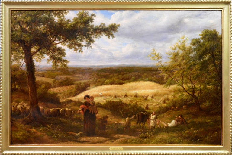 James Thomas Linnell Landscape Painting - Reaping - Very Large 19th Century Oil Painting - Royal Academy 1870 - Linnell
