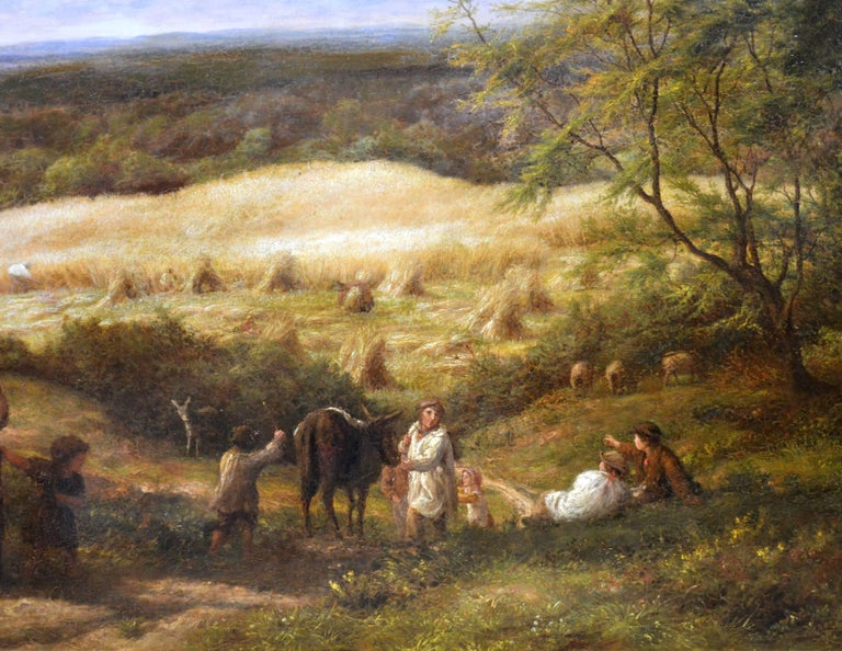 Reaping - Very Large 19th Century Oil Painting - Royal Academy 1870 - Linnell - Brown Landscape Painting by James Thomas Linnell