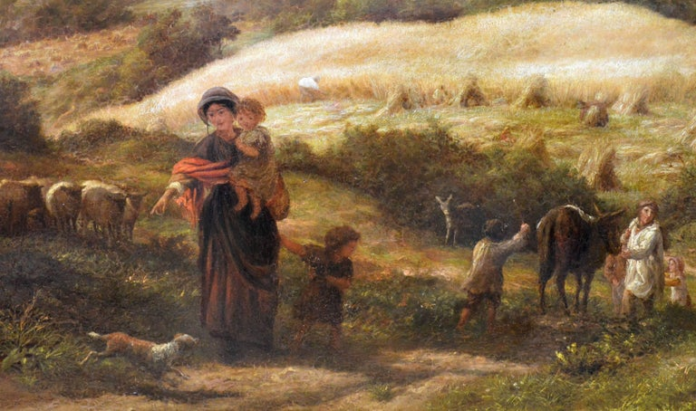 This is a huge fine 19th century oil on canvas depicting rural workers during a late summer afternoon 'Reaping' the harvest in an extensive English landscape of Surrey by the eminent Victorian artist James Thomas Linnell (1823-1905). This important