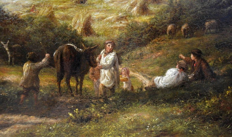 Reaping - Very Large 19th Century Oil Painting - Royal Academy 1870 - Linnell For Sale 1
