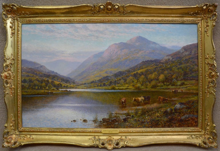 Alfred Augustus Glendening Snr Landscape Painting - Scottish Landscape with Highland Cattle - 19th Century Oil Painting - Glendening