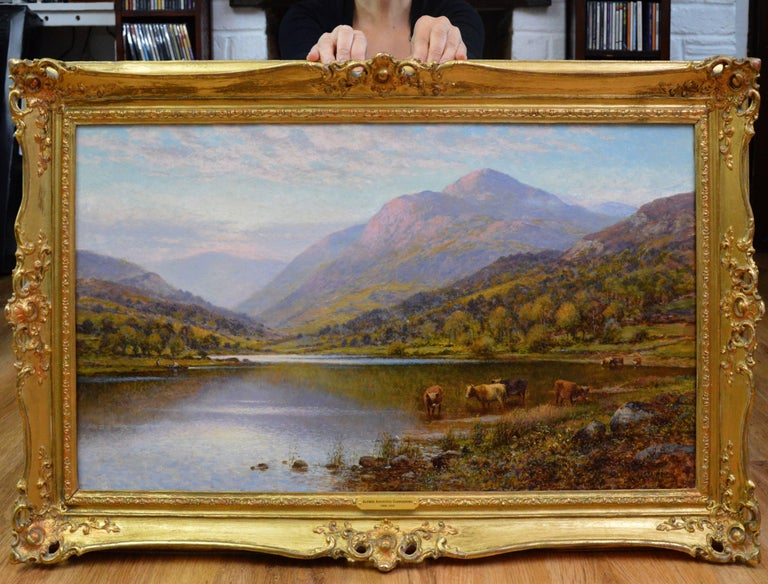 Scottish Landscape with Highland Cattle - 19th Century Oil Painting - Glendening - Brown Landscape Painting by Alfred Augustus Glendening Snr
