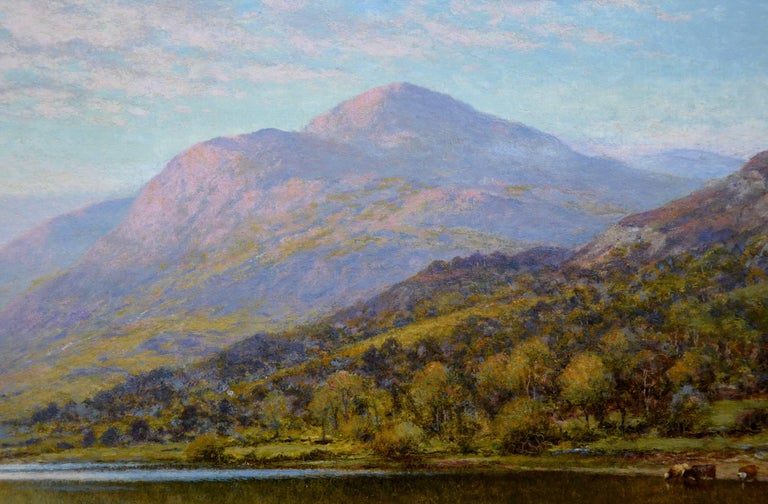 Scottish Landscape with Highland Cattle - 19th Century Oil Painting - Glendening For Sale 1