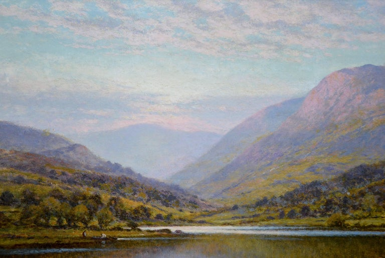 Scottish Landscape with Highland Cattle - 19th Century Oil Painting - Glendening For Sale 2