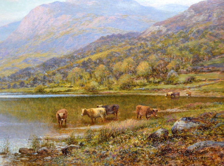 Scottish Landscape with Highland Cattle - 19th Century Oil Painting - Glendening For Sale 3